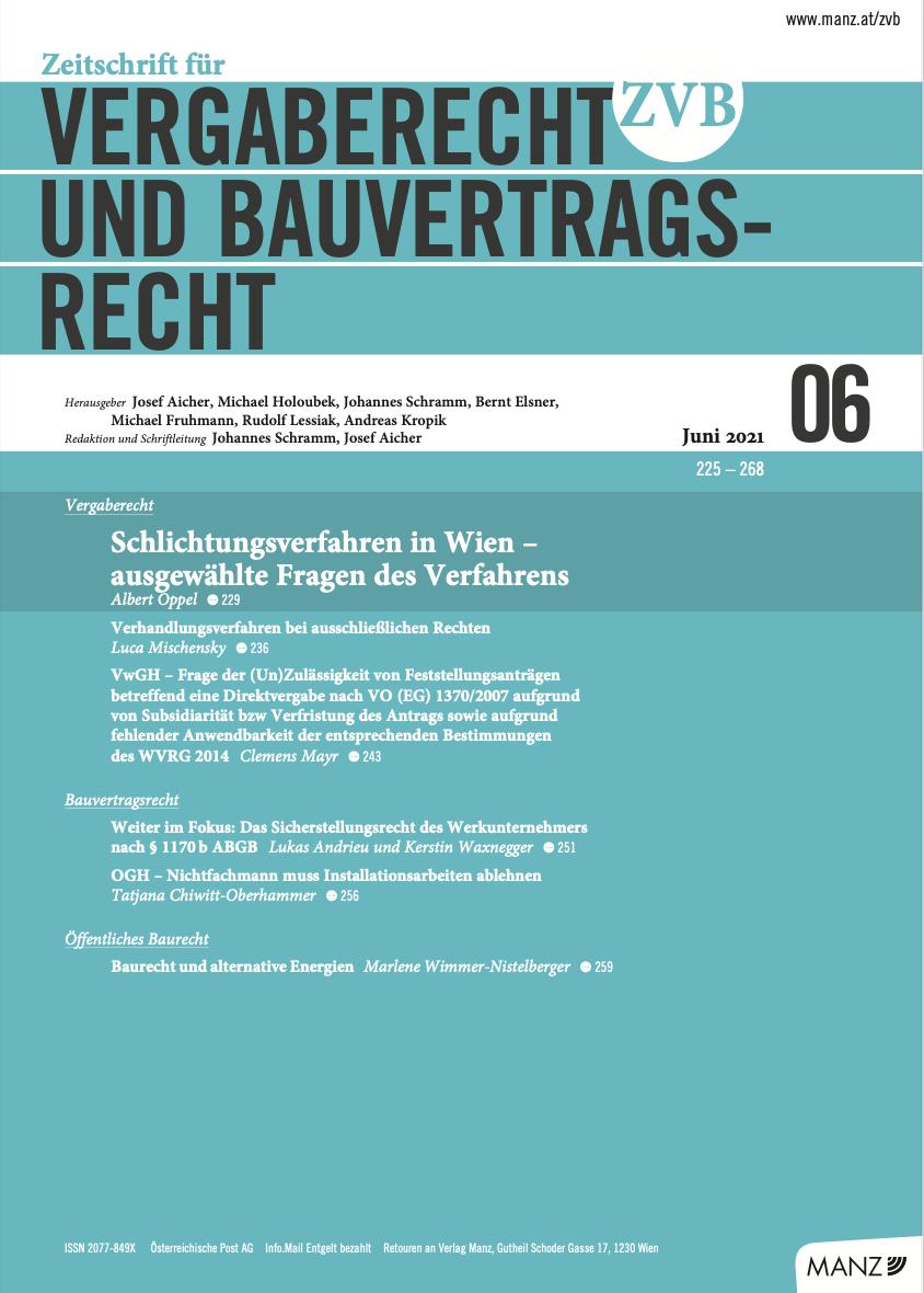 Zeitschrift für Vergaberecht und Bauvertragsrecht (ZVB):
